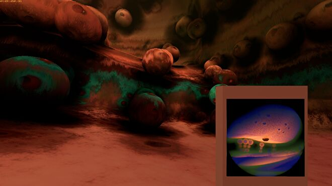 A screenshot of Yedoma Globula, a first-person spelunking game about exploring an infinite fractal world made of smooth globes.