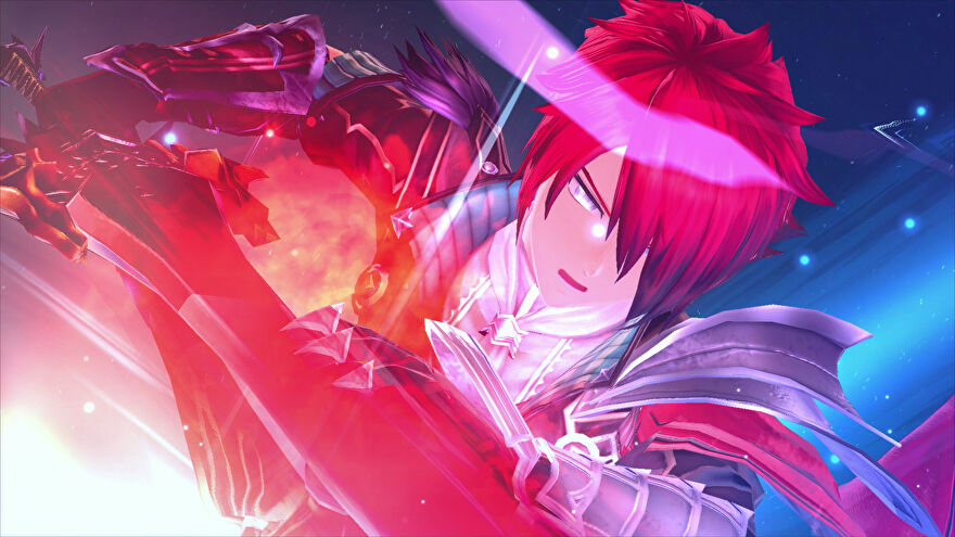 A red-haired man slashes a sword across the screen in Ys IX: Monstrum Nox