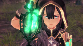A screenshot of Ys IX: Monstrum Nox in which a hooded woman, rendered in an anime art style, is frowning and holding up a glowing object.