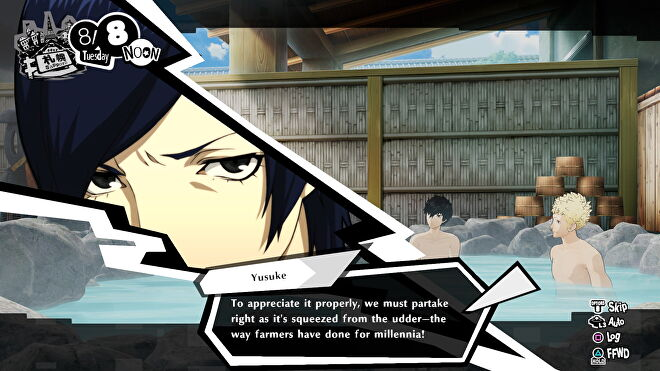 Persona 5 Strikers' Yusuke says 'To appreciate it properly, we must partake right as it's squeezed from the udder - the way farmers have done for millenia!' in the hot tub.