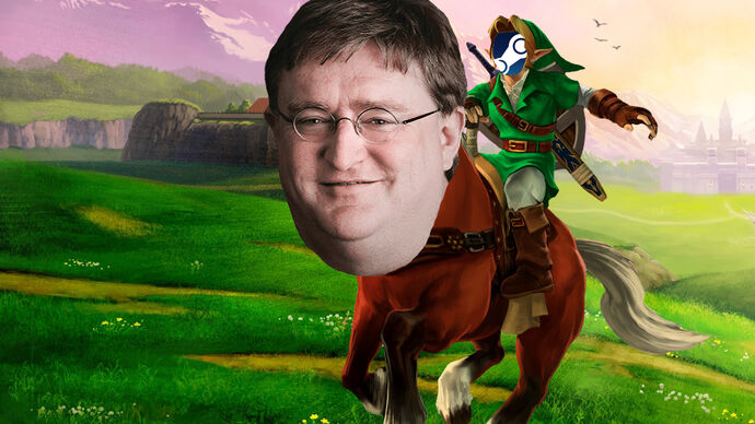The face of Valve's Gabe Newell on the horse from The Legend of Zelda, Epona. Link is riding the horse, but has the Steam logo as a face.