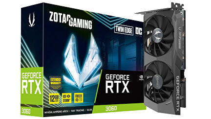 Zotac RTX 3060 Twin Edge OC product photo showing the card and box
