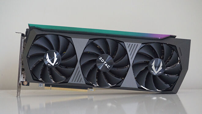 A photo of Zotac's GeForce RTX 3070 Ti AMP Holo edition graphics card