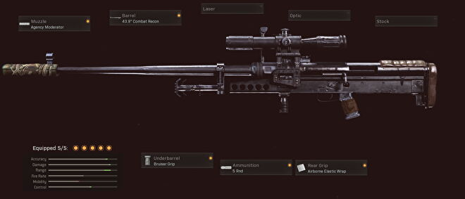 This ZRG 20mm sniper has the agency moderator, 43.9 inch combat recon, bruiser grip, 5 round mag, and airborne elastic wrap attachments.